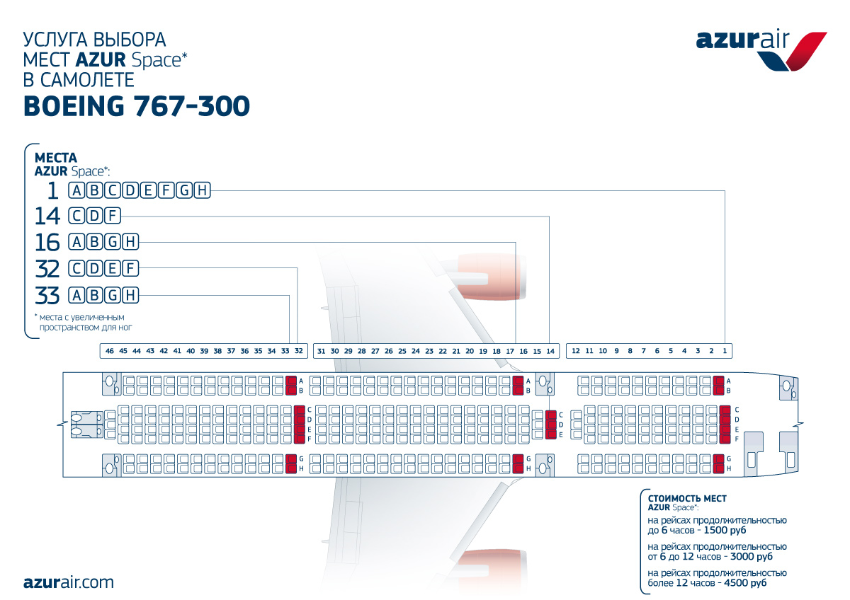 Azur air Azur-space Boeng 767-300 seats scheme